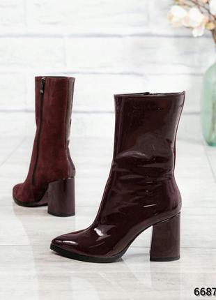 ❤ женские бордовые весенние демисезонные кожаные ботинки ботил...