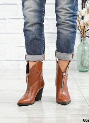 ❤ женские коричневые весенние демисезонные кожаные ботинки бот...