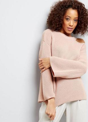 Нежный свитер с вырезом на плече new look