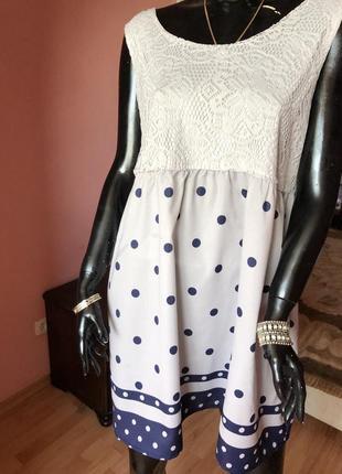 Платье в горох с кружевом, размер 54-58