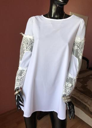 Платье белое с кружевом yoins,  размер 46-48