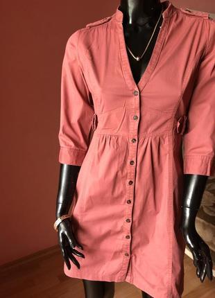 Платье рубашка mango хлопок, винного цвета, размер xs-s