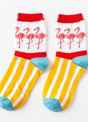 Таких носков Вы ещё не видели! Желтые в полоску с фламинго!