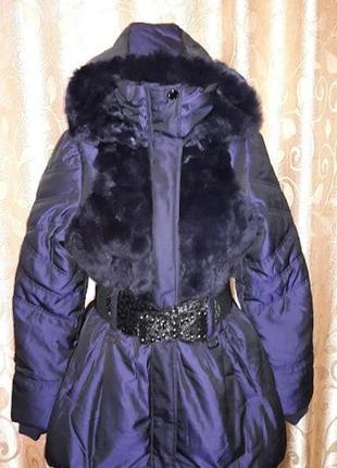 🌹🌹🌹красивая новая женская теплая куртка, пуховик с мехом кроли...