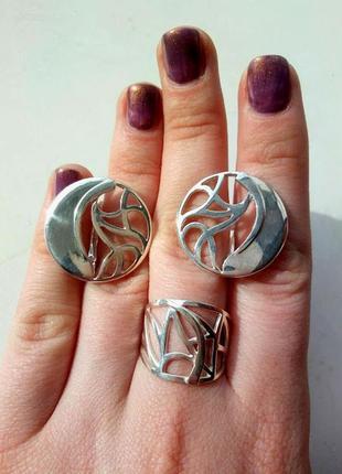 Набор серебро кольцо и серьги