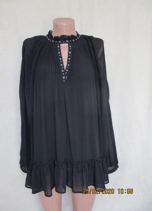 Нарядная шифоновая блуза-туника с вырезами на рукавах/плиссе