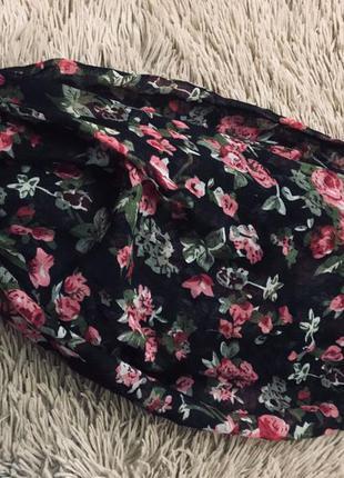 Лёгкий шарф-хомут цветочный принт