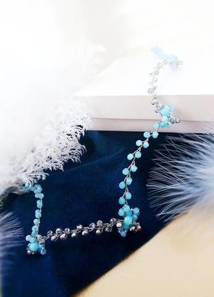 Готика- веточка, ободок, чокер, обруч в серебристо-голубом цвете