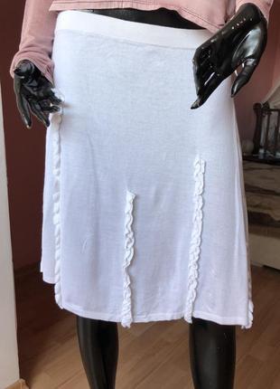 Юбка шелк с вискозой, белая. размер 48, 46