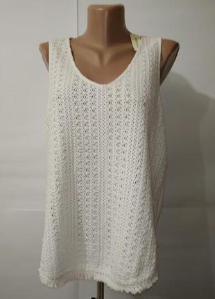 Блуза новая белая хлопковая кружевная river island uk 10/38/s
