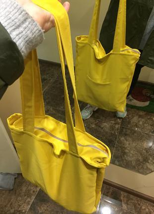 сумка шопер эко торба желтый цвет большая сумка