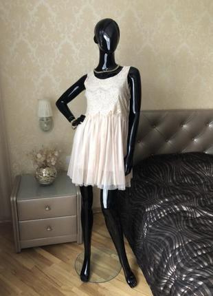 Платье беж, кружево/сетка, размер 44