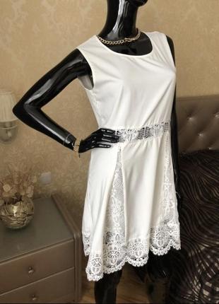 Белое платье zanzea с кружевом, размер 44, 46
