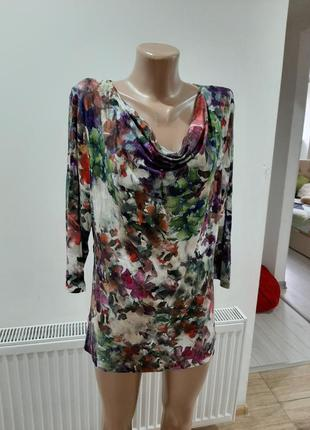Блуза батал в цветах ручная работа