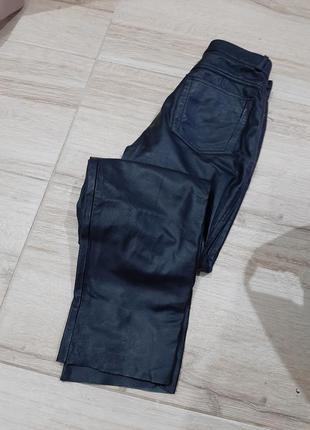 Брюки кожа на подкладке зауженные высокая посадка
