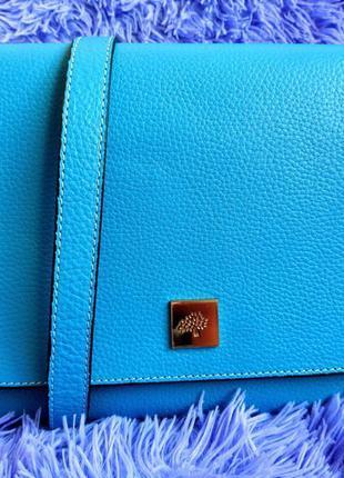 Кламмная кожанная  сумка в стиле mulberry