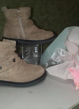Оригинальные кожаные детские демисезонные ботинки на девочку 2...
