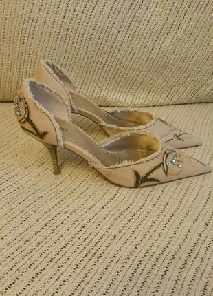 Obsel:, туфли летние, котоновая ткань с рисунком, цвет беж., р...