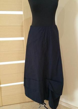 Cos, юбка в стиле бохо,темно синего цвета, размер m/l