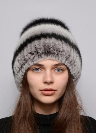 Женская зимняя меховая шапка из кролика бубон маленький