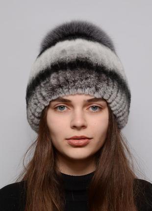 Женская зимняя меховая шапка из кролика бубон маленький шиншилл