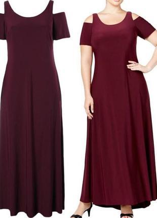 Платье вечернее макси батал с короткими рукавами и вырезами в ...
