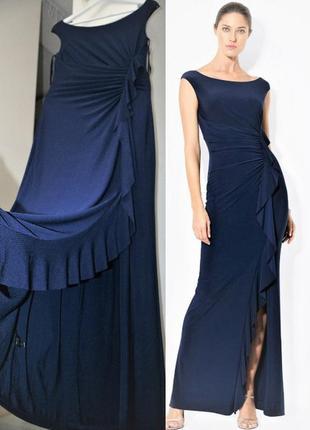 Платье макси на запах с асимметричной драпировкой и каскадным ...