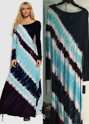"""Платье в стиле бохо-шик с диагональным принтом """"размытая полос..."""