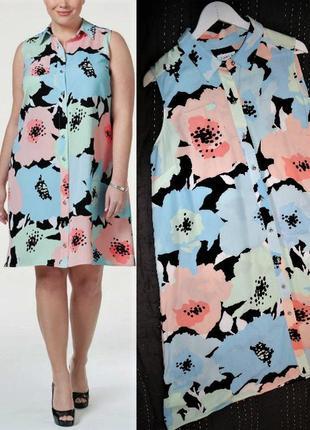 Платье-халат calvin klein мульти-принт с рубашечным воротничко...
