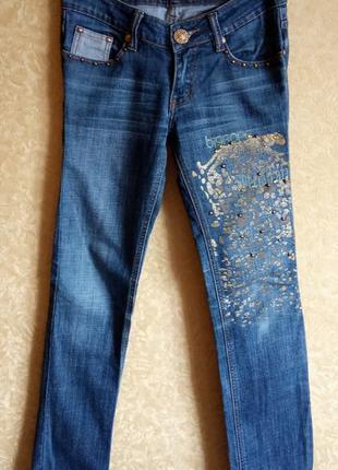 🎀крутые джинсы в камнях с принтом/супер цена🙀🤑