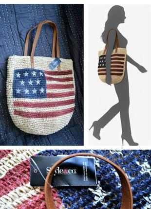 "Летняя соломенная сумочка ""шоппер"" style & co сша с флагом по ..."