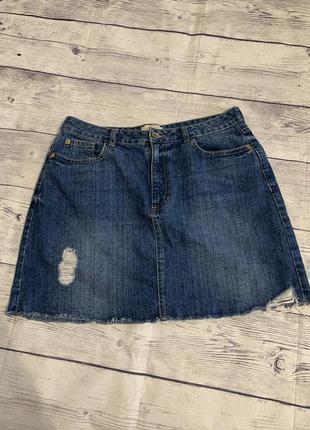 Юбка джинсовая , потертости
