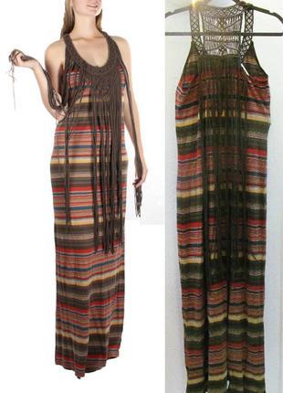 Denim & supply ralph lauren платье  м,  макси с макраме в стил...