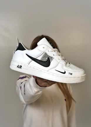 Белые женские кроссовки из кожзама nike air force