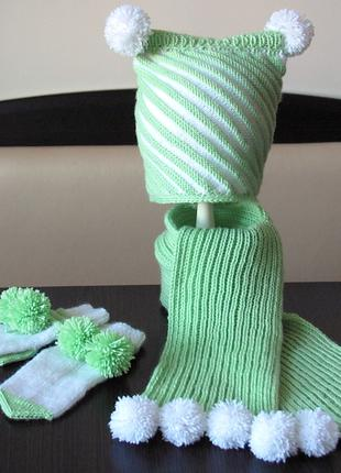 В'язана шапочка, рукавички та шарфик. Зимовий комплект