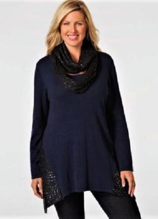 Туника style co *plus size* с отстегивающимся шарфом, декориро...