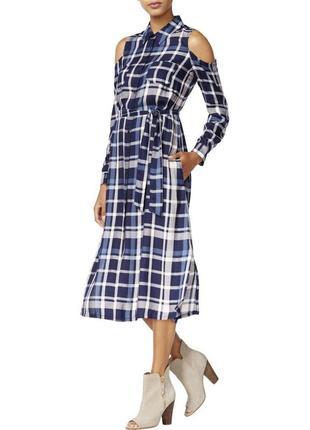 """Штапельное платье-рубашка """"maison jules"""" в клетку, с вырезами ..."""