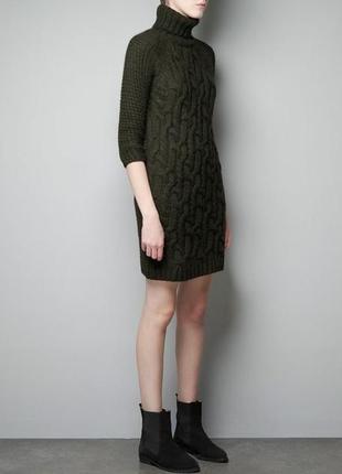 Zara платье-свитер , платье-гольф ,туника фактурного отвяза, ц...