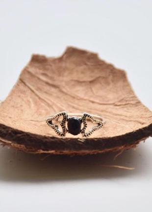 #Кольцо под серебро #кольцо с черным камнем