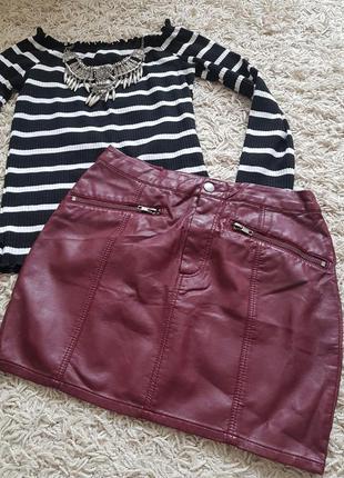 🔥ценопад🔥стильная крутая кожана юбка цвет бордо 🖤 h&m 🖤