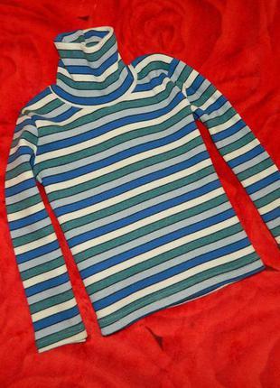 Гольф детский в полоску белую, синюю и голубую на мальчика 4-...
