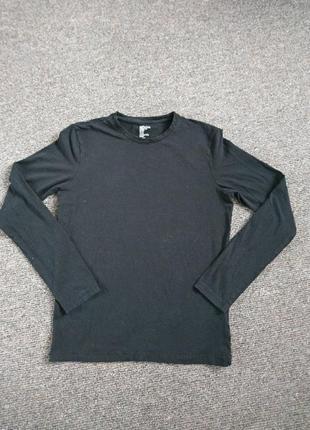 Чёрная мужская кофта футболка с длиным рукавом .