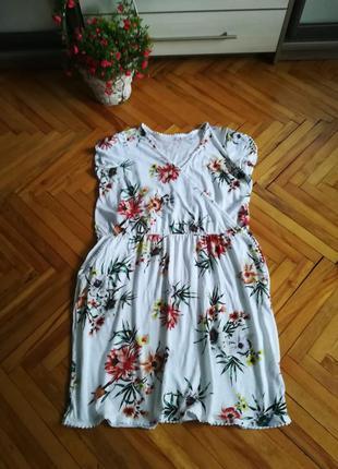 Летнее, яркое, хлопковое платье большого размера