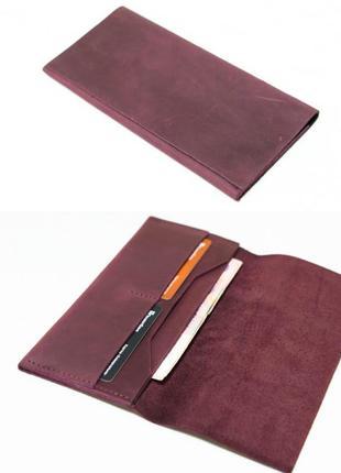 Тонкий кошелек из натуральной винтажной кожи бордовый