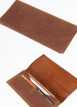 Тонкий кошелек из натуральной винтажной кожи цвета коньяк