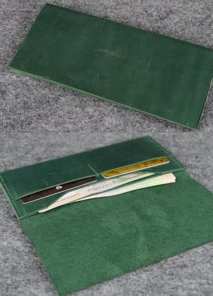 Тонкий кошелек из натуральной винтажной кожи зеленый