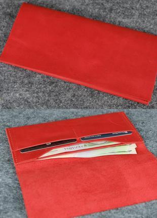 Тонкий кошелек из натуральной винтажной кожи красный