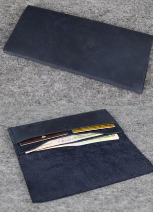 Тонкий кошелек из натуральной винтажной кожи синий