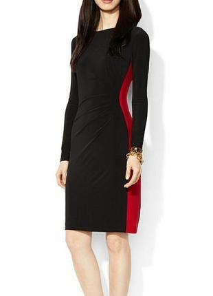 Черное платье ralph lauren с красными вставками по бокам 44-46