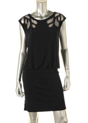 Нарядное платье с вышивкой на прозрачной сетке и декором из би...